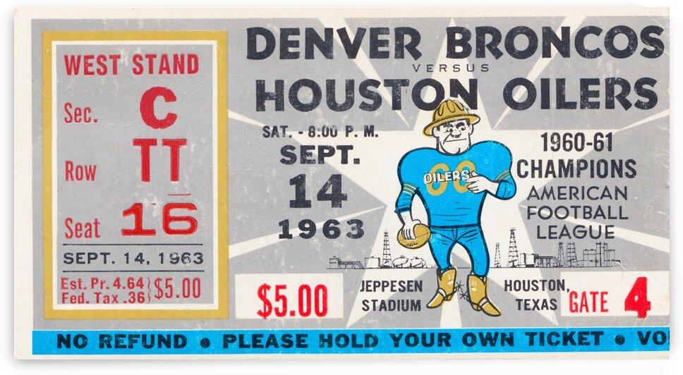 1963 Houston Oilers Ticket Stub Art by Row One Brand