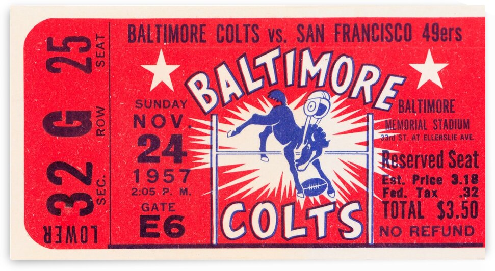 1957 Baltimore Colts Football Ticket Wood Art  by Row One Brand
