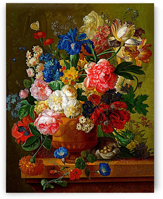Still Life Of Flowers With Butterfly And Bird's Nest_OSG by One Simple Gallery