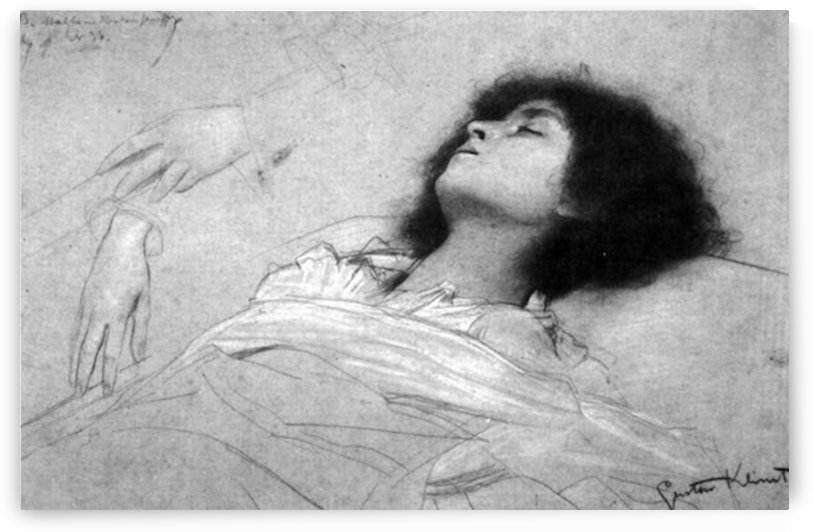 Study sheet with the upper body of a girl and sketches by Klimt by Klimt