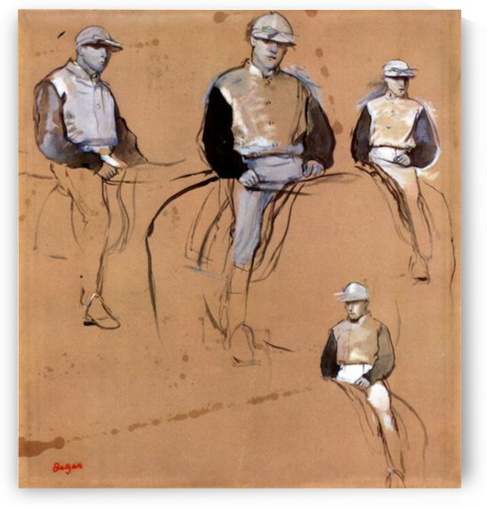 Study with four jockeys by Degas by Degas