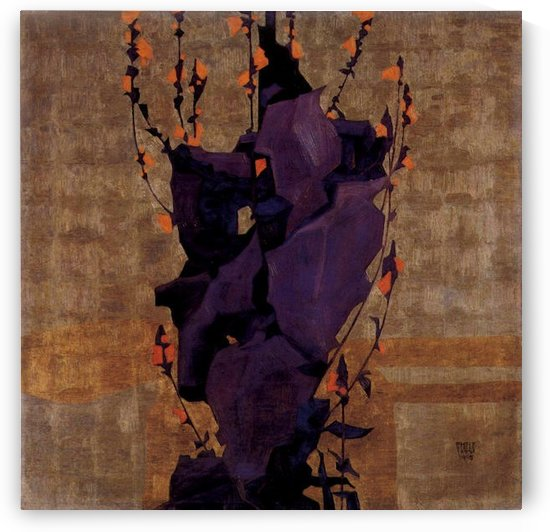 Stylized floral before decorative background, style of life by Schiele by Schiele