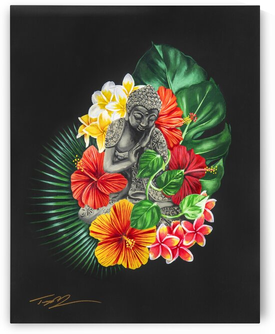 Buddha and Plants by Artist Jones