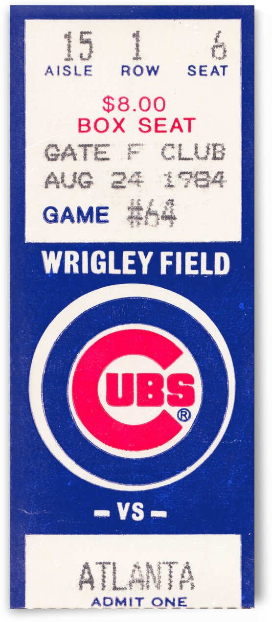 1984 Chicago Cubs Ticket Stub Art by Row One Brand