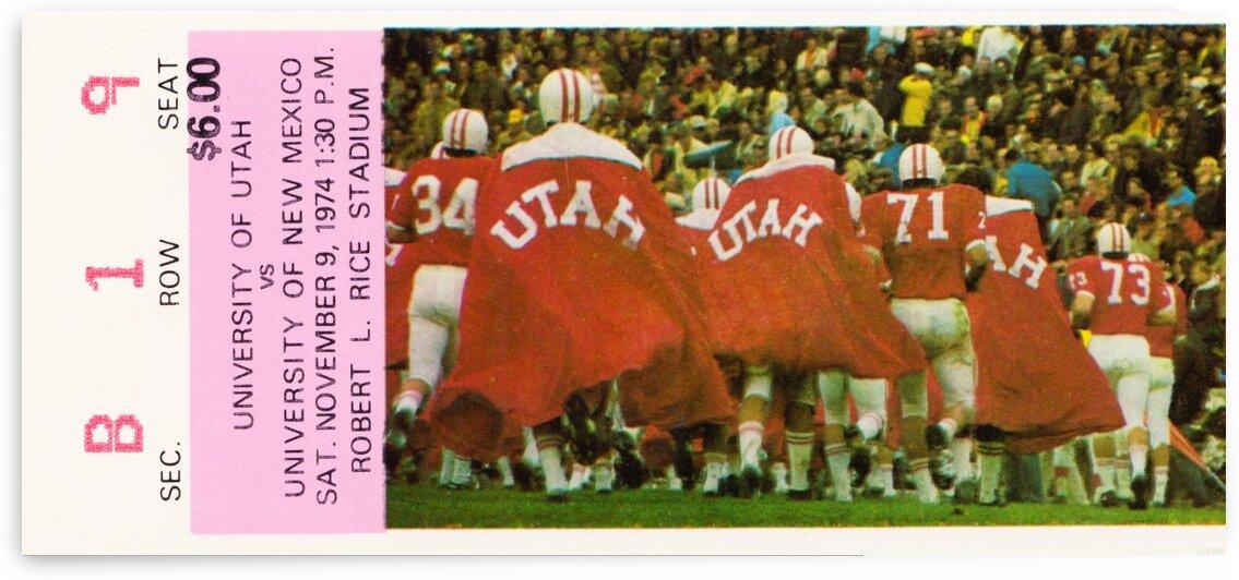 1974 Utah Utes Football Ticket Stub Art by Row One Brand