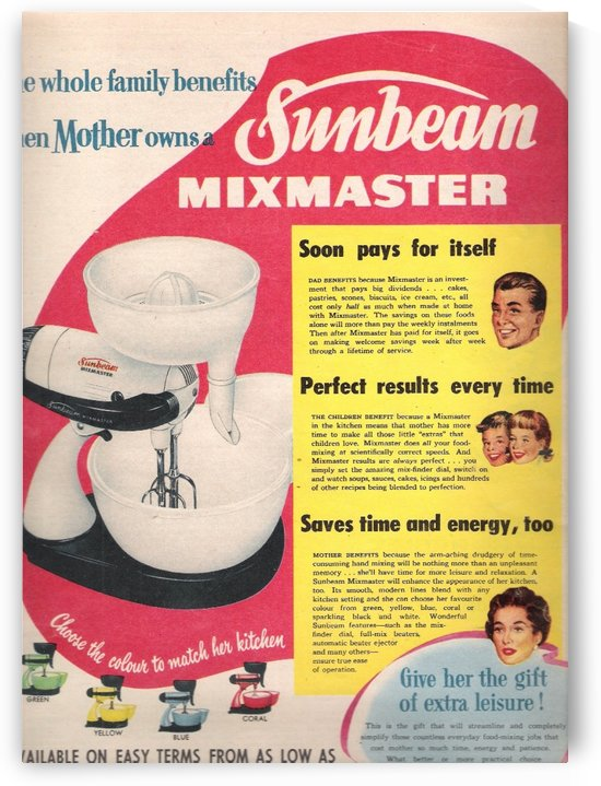 Sunbeam Mixmaster by VINTAGE POSTER