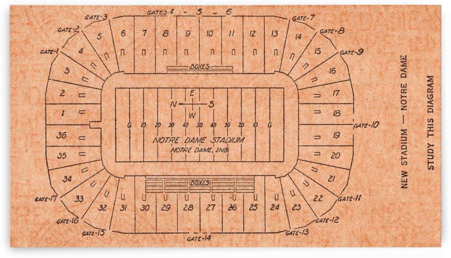 1931 Notre Dame Stadium Map Poster by Row One Brand
