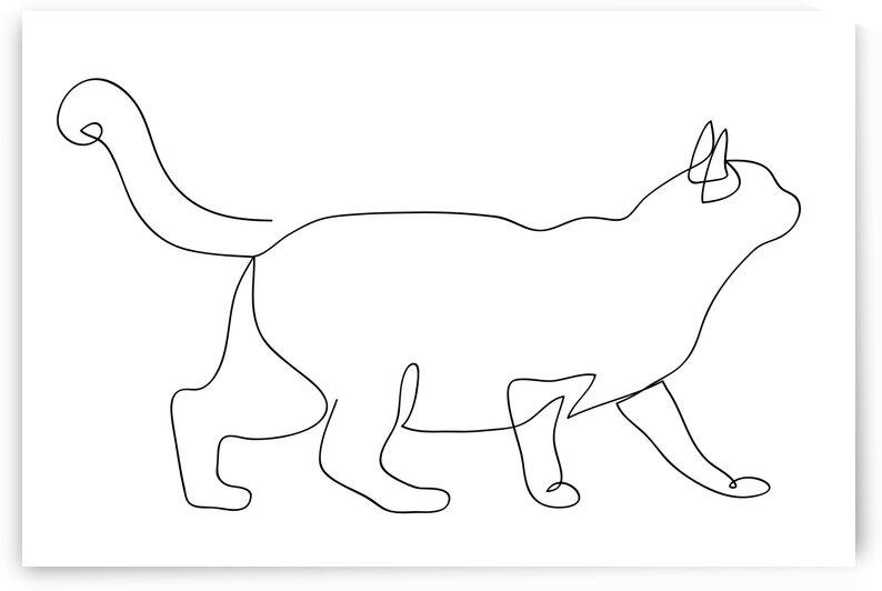 Cat continuous line art I by Aquamarine