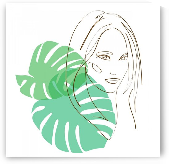 Girl with tropical leaves  by Aquamarine