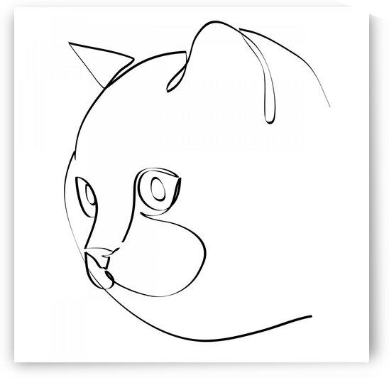 Cat continuous line art III by Aquamarine