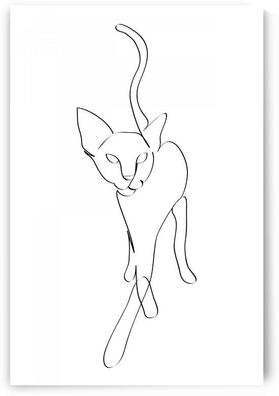 Cat continuous line art IV by Aquamarine