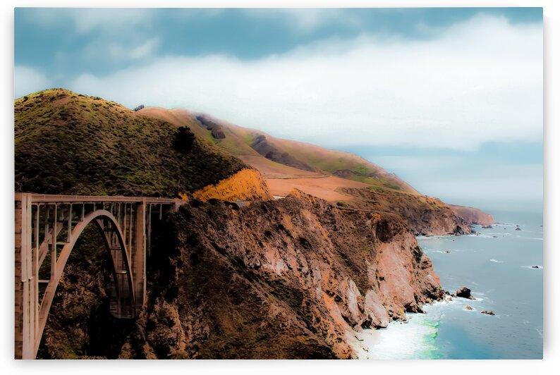 bridge with green mountain and ocean view at Bixby Bridge Big Sur California USA by TimmyLA
