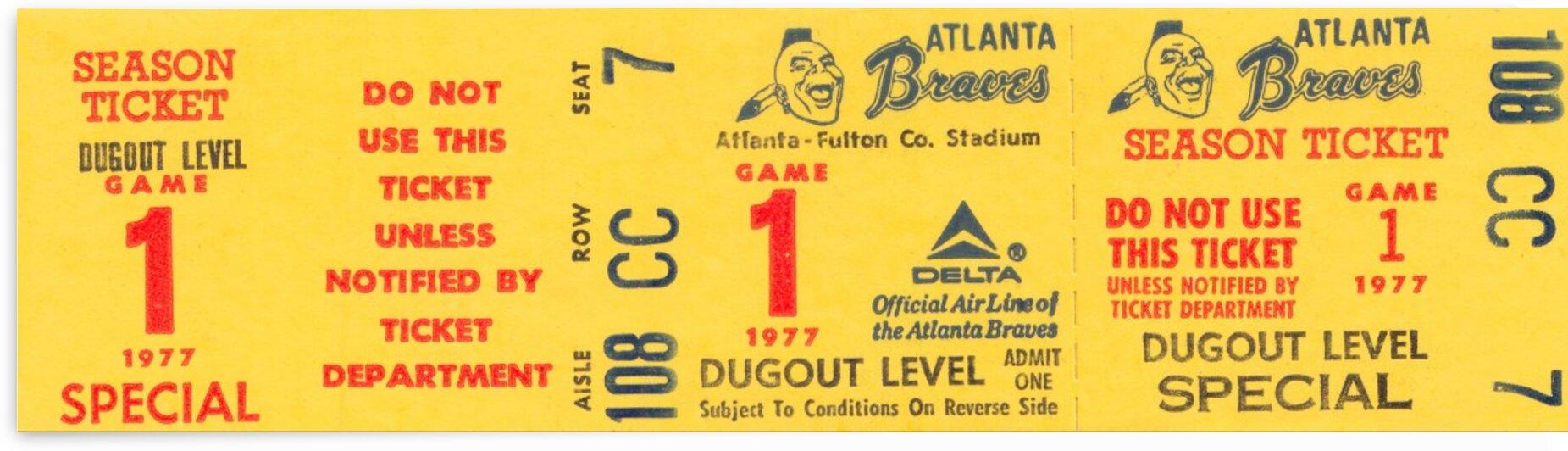 1977 Atlanta Braves Baseball Ticket Art by Row One Brand