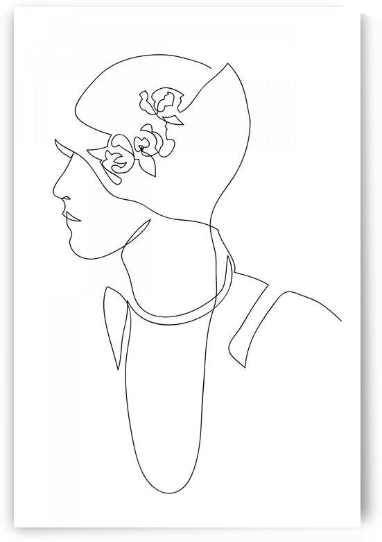 Vintage female fashion portrait continuous line IV by Aquamarine