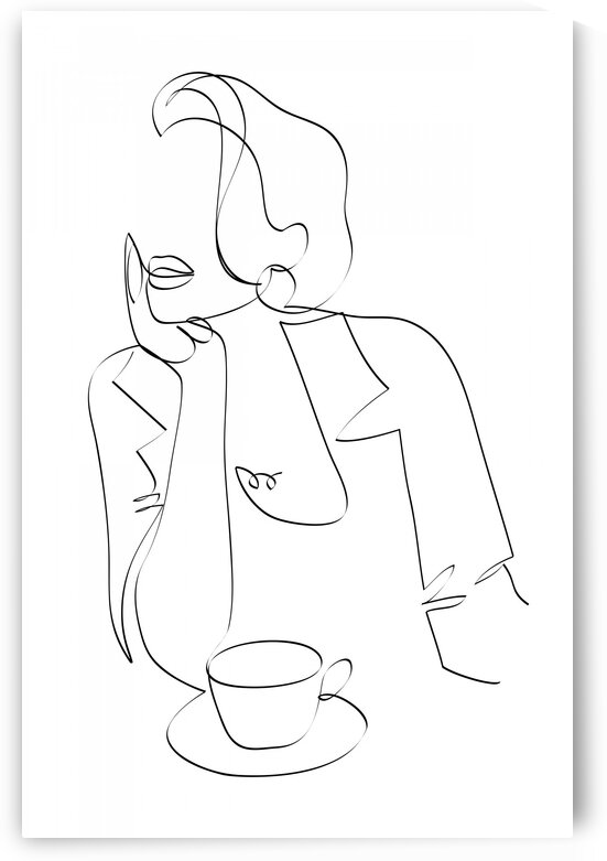 Woman  with cup of coffee by Aquamarine