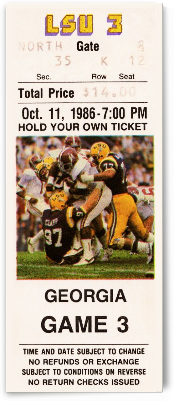 1986 LSU vs. Georgia Football Ticket Poster by Row One Brand