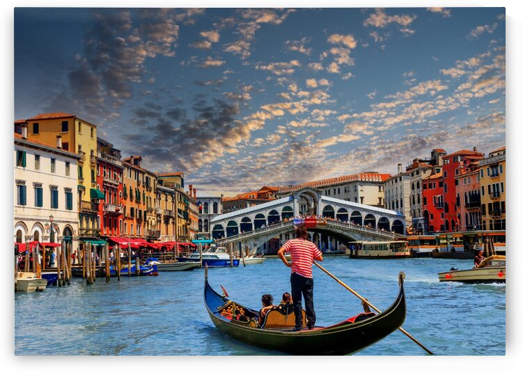 Gondola on Grand Canal at Rialto Bridge Edit by Darryl Brooks