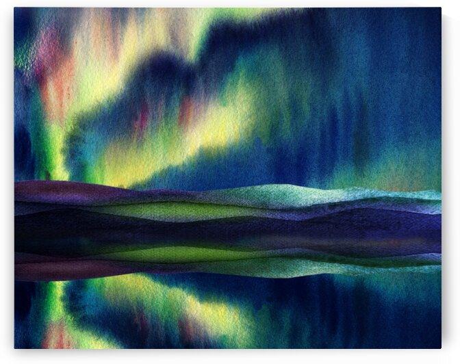 Aurora Borealis Magic Reflections Northern Lake Lights Watercolor by Irina Sztukowski