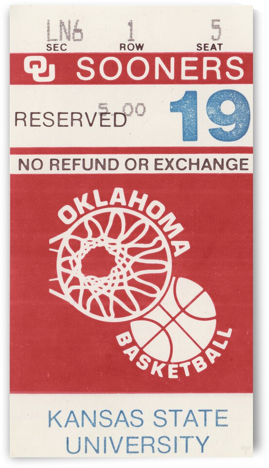 1983 Oklahoma Sooners Basketball Ticket Art by Row One Brand