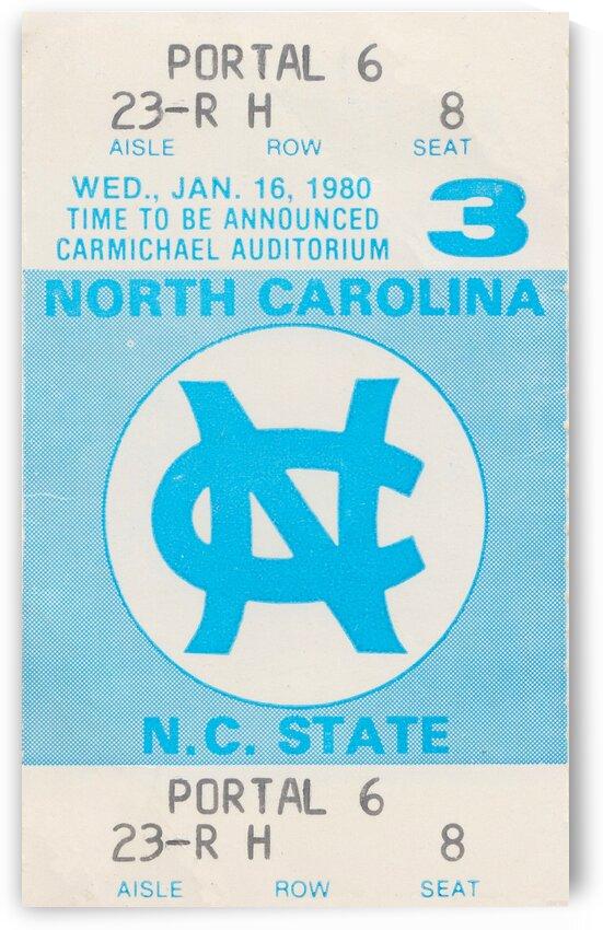 1980 North Carolina Basketball Ticket Stub Poster by Row One Brand