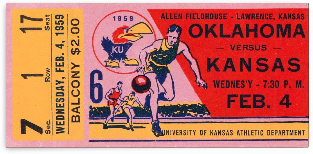 1959 Kansas Jayhawks Basketball Ticket Stub Wall Art by Row One Brand