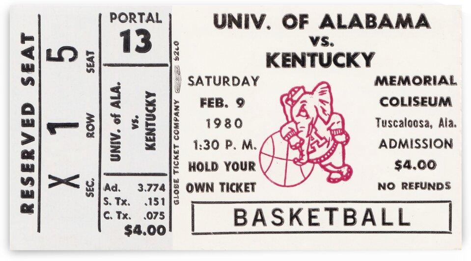 1980 Alabama vs. Kentucky Basketball Ticket Art by Row One Brand