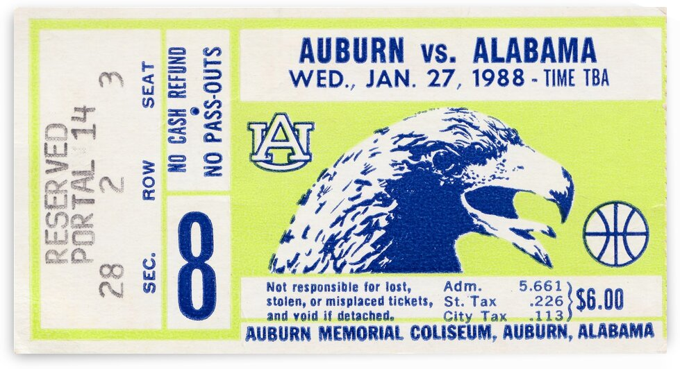 1988 Alabama vs. Auburn Basketball Ticket Stub Poster by Row One Brand
