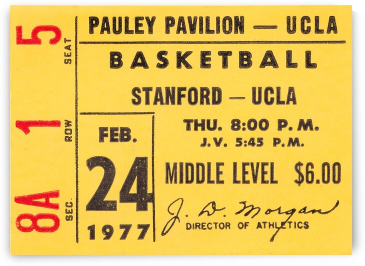 1977 UCLA Bruins Basketball Ticket Stub Art by Row One Brand