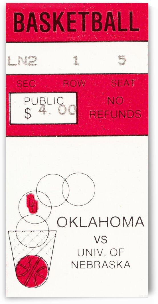1982 Oklahoma Sooners Basketball Ticket Stub Art by Row One Brand