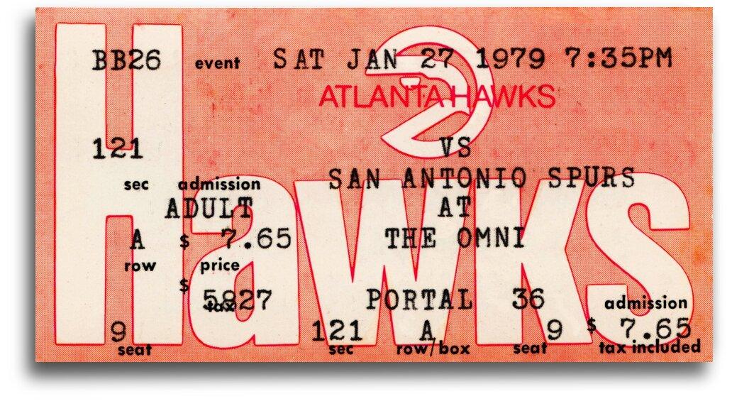 1979 Atlanta Hawks Ticket Stub Art by Row One Brand