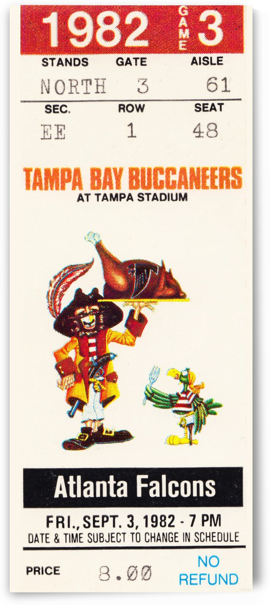 1982 Tampa Bay Buccaneers Football Ticket Art by Row One Brand