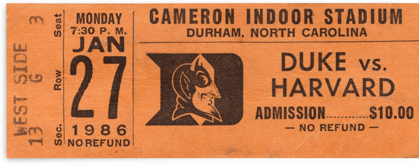 1986 Duke vs. Harvard Basketball Ticket Art by Row One Brand