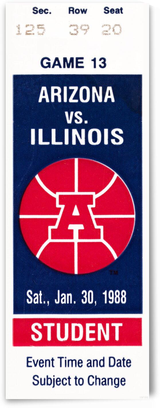 1988 Arizona Wildcats Basketball Ticket Stub Art by Row One Brand