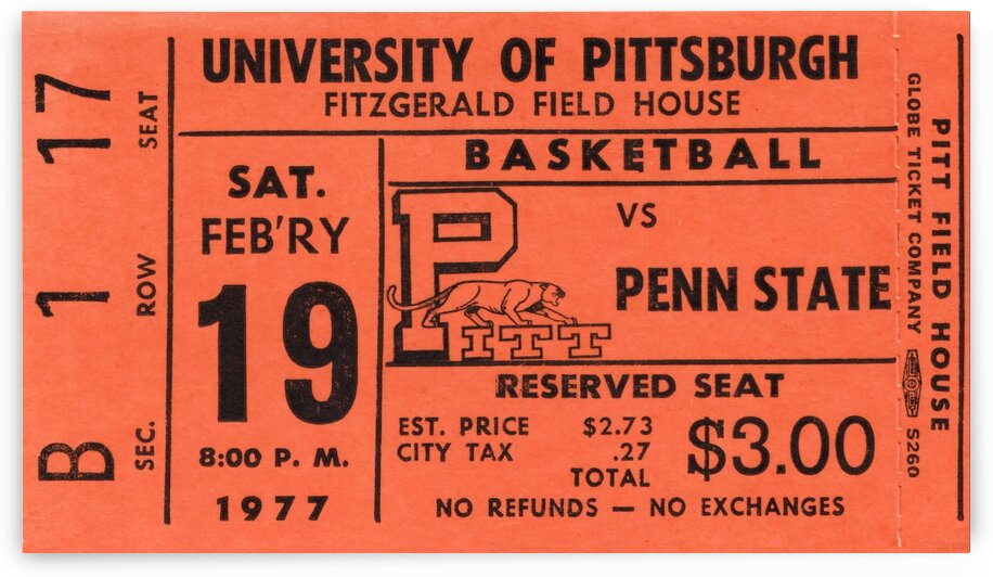 1977 Pittsburgh Panthers Basketball Ticket Stub Art by Row One Brand