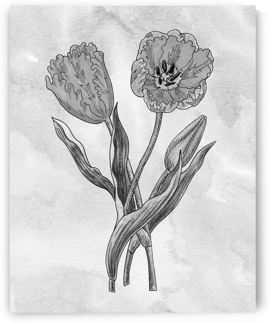 Parrot Tulip Simple Gray Botanical Flower On Watercolor Marble  by Irina Sztukowski