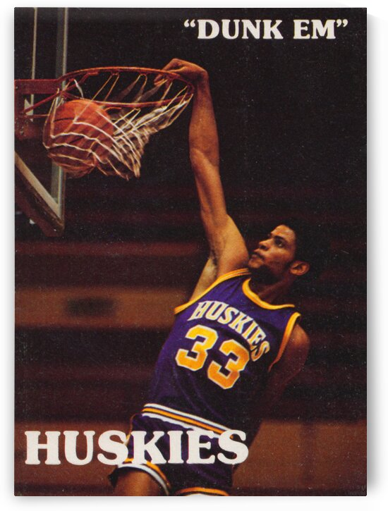 1978 Washington Basketball Poster Dunk Em Huskies by Row One Brand