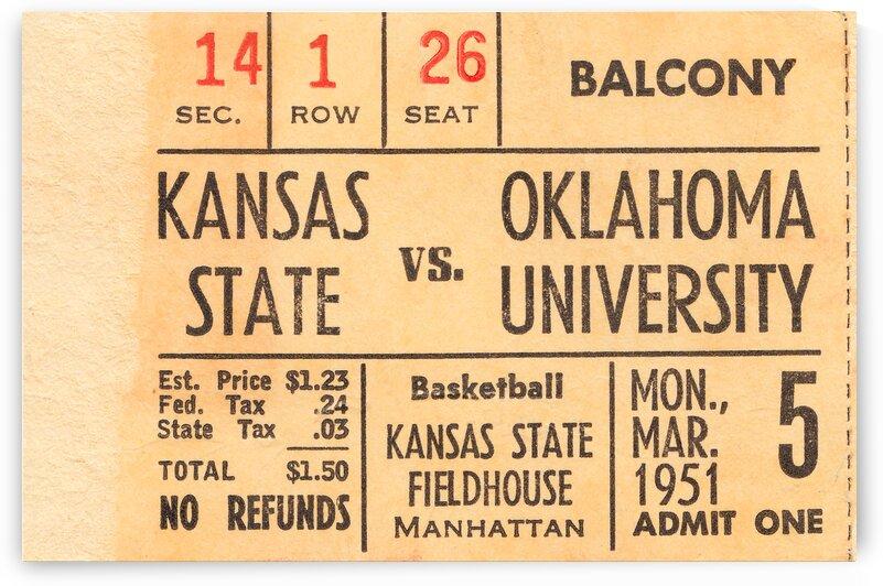 1951 OU vs. Kansas State Basketball Ticket Art by Row One Brand