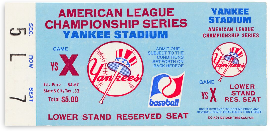 1977 New York Yankees American League Championship Ticket Art by Row One Brand