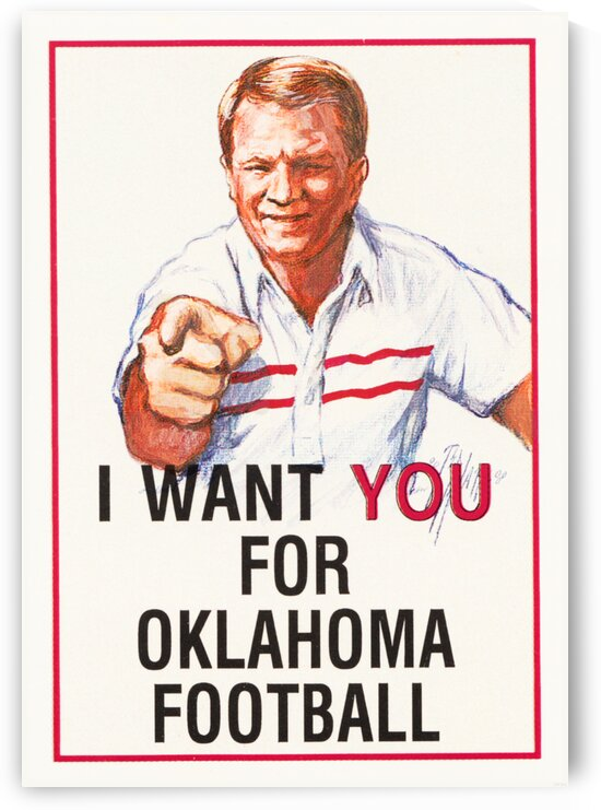 I Want You for Oklahoma Football Barry Switzer Poster 1986 by Row One Brand