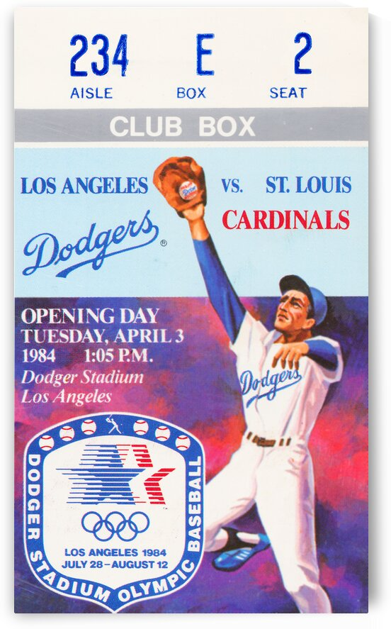 1984 LA Dodgers Opening Day Ticket Art by Row One Brand