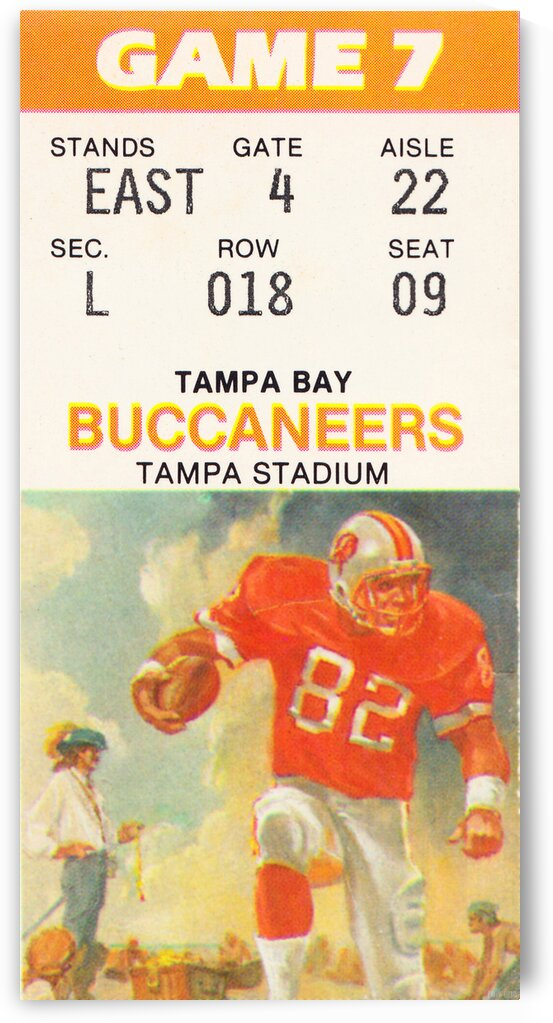 1988 Tampa Bay Buccaneers Ticket Stub Art by Row One Brand