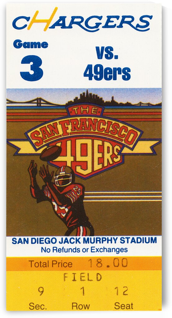 1984 San Diego Chargers vs. 49ers Ticket Art by Row One Brand