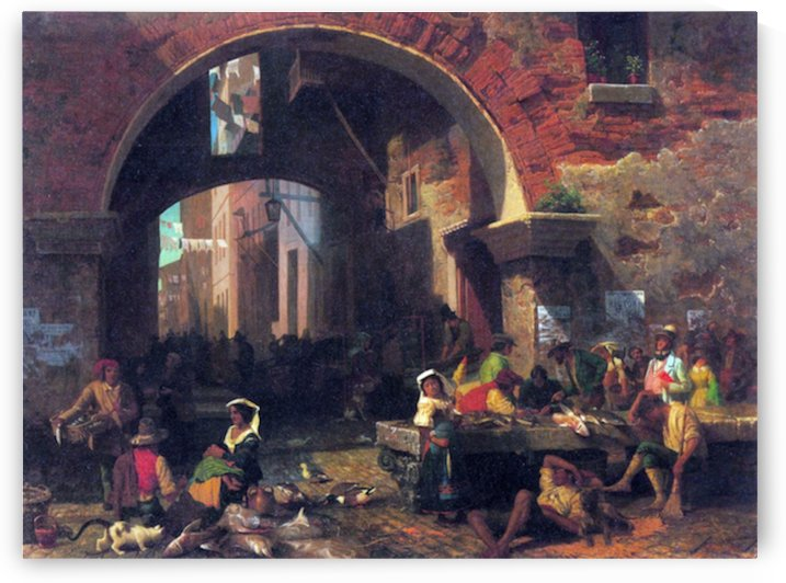 The Arc of Octavius, Roman Fish market by Bierstadt by Bierstadt