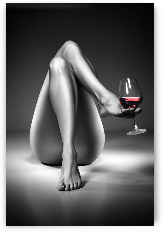 Nude woman red wine 4 by Johan Swanepoel