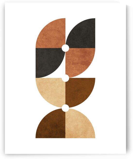 Quarter Circle Pattern 2 - Minimal Geometric Scandinavian Abstract - Brown by Cosmic Soup
