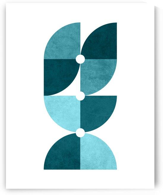Quarter Circle Pattern 2 - Minimal Geometric Scandinavian Abstract - Blue by Cosmic Soup