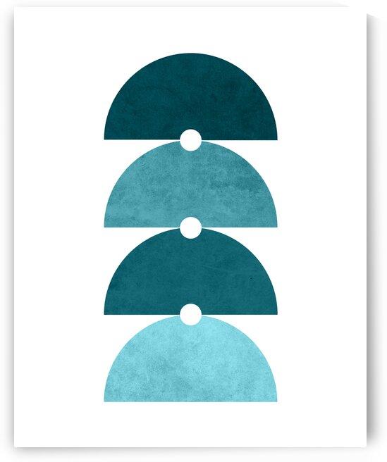 The Quartet - Minimal Geometric Scandinavian Abstract - Blue by Cosmic Soup