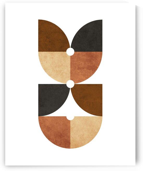 Quarter Circle Pattern 1 - Minimal Geometric Scandinavian Abstract - Brown by Cosmic Soup