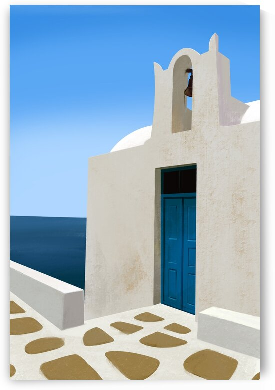 Bell house by the sea - Santorini  Greece by Cosmic Soup