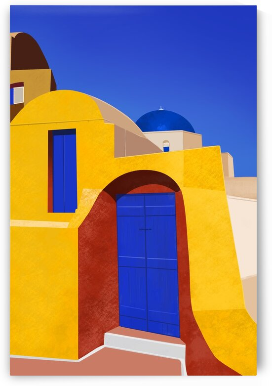 Blue Doors and Yellow Walls - Santorini  Greece by Cosmic Soup